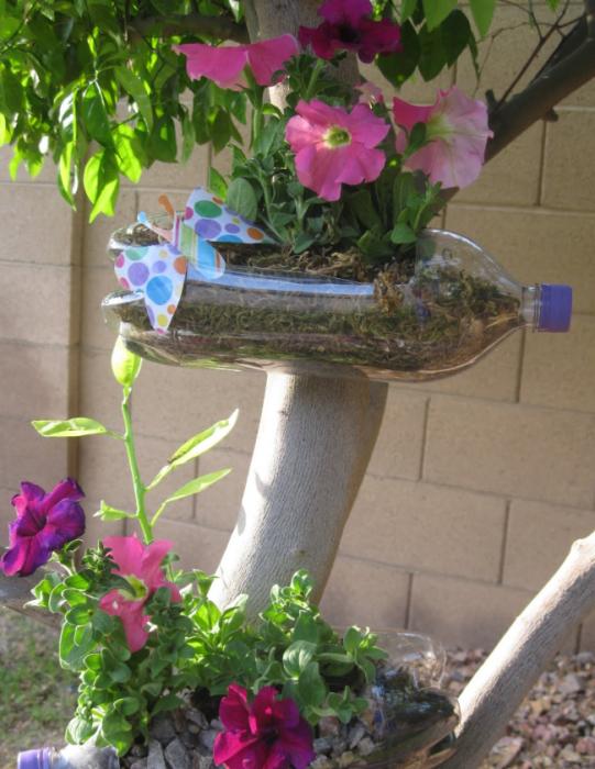 Необычный вариант размещения садовых растений в пластиковых бутылках.