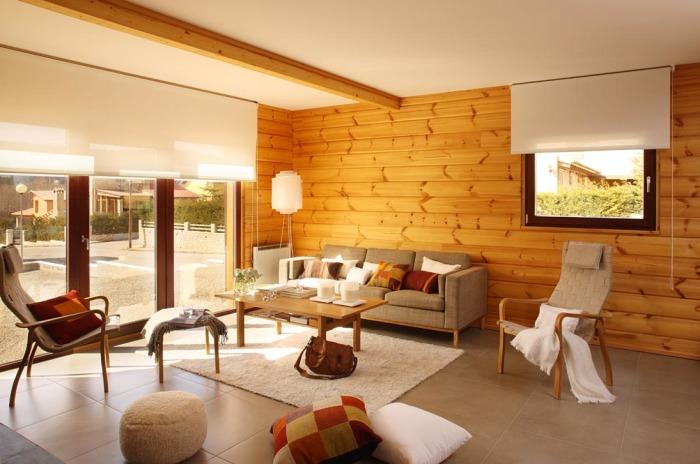 Настенные рейки из натуральной древесины как элементы экостиля в современном интерьере.