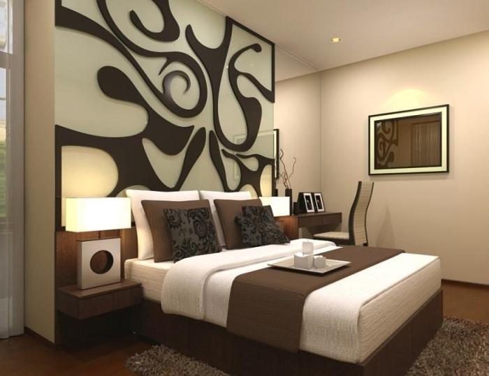 Удивительный орнамент над спальным местом придаст оригинальности вашей спальне.