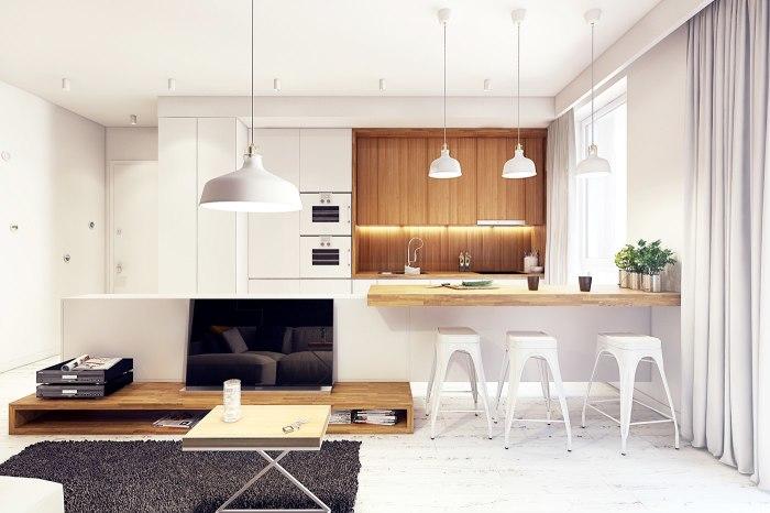Белая кухня с деревянными элементами - отличный выбор для тех, кому нравятся лаконичные интерьеры, отличающиеся чистотой линий и монохромностью.