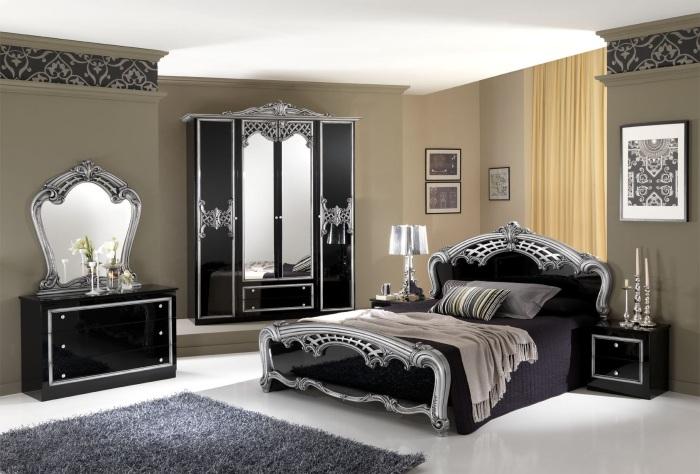 Трендовая аристократическая мебель в классическом интерьере спальной комнаты.