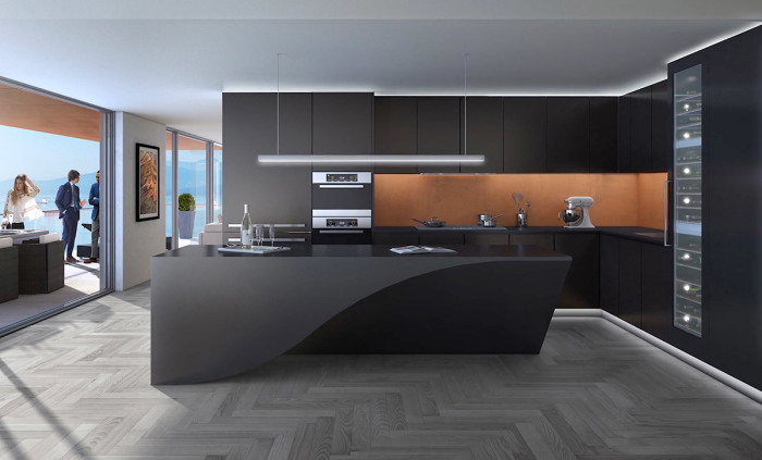 Многофункциональный остров в центре кухни, играющий роль своеобразной скульптуры, которая способна оставить приятное впечатление на гостей.
