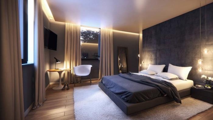 Оригинальная спальня в классическом стиле, с нестандартным освещением.