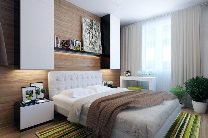 Разнообразие цветовой гаммы в маленькой, но уютной спальной комнате.