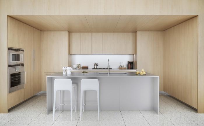 Симметрия и контраст играют важную роль в интерьере кухни.