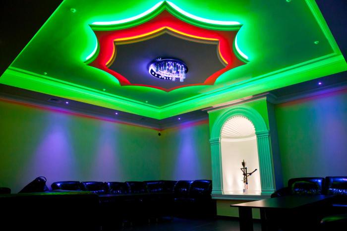 Центральная светодиодная подсветка гипсокартонного потолка.