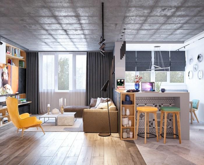 Гостиная комната с жёлтыми акцентами – идеальный вариант для весёлых и активных личностей.