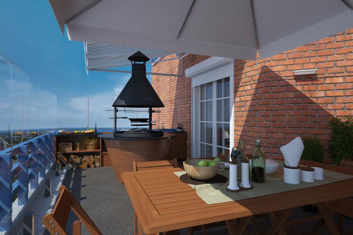Стильная терраса с комфортабельной современной мебелью, местом для разведения огня и приготовления пищи.