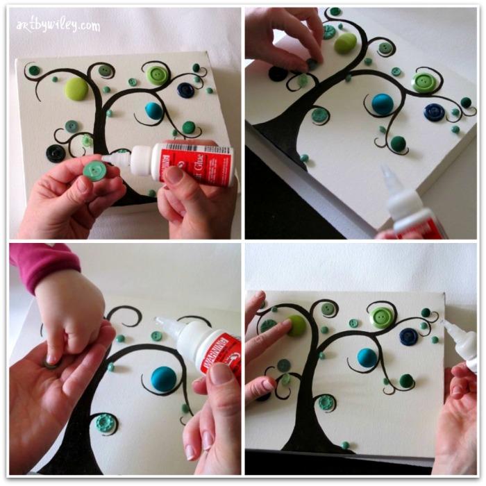 Отличный пример создание маленькой, но живописной картины из обычных пуговиц.