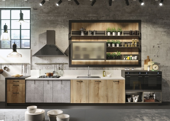 Оригинальные узоры на шкафах и нескучная геометрия в интерьере - отличное решение для современной кухни.
