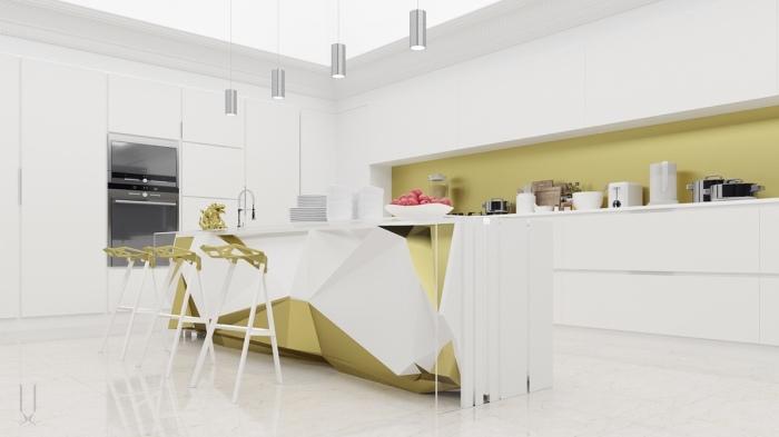 Необычным дизайнерским решениями в этой кухне можно назвать многофункциональный остров в центре помещения, который оживляет всё пространство в целом.