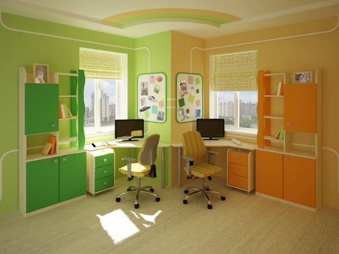 Необычные манипуляции с цветовой гаммой создали визуальное разделение пространства детской комнаты.
