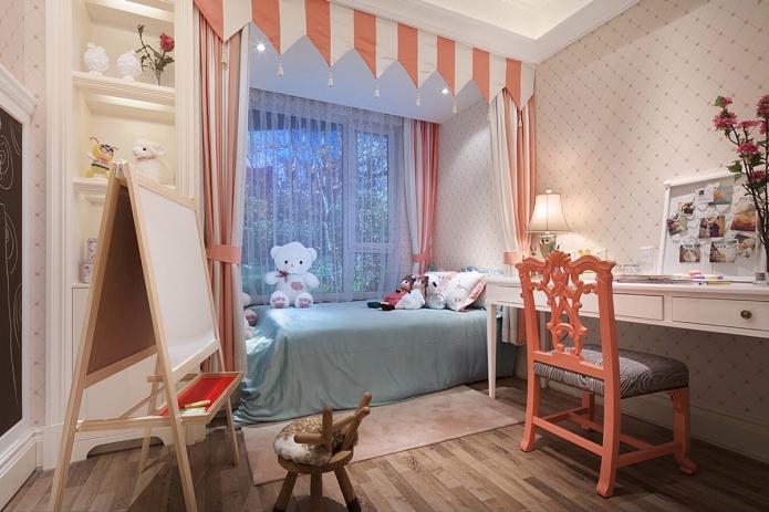 Светлый интерьер детской комнаты позволит не только визуально увеличить пространство, но и создаст благоприятную обстановку.