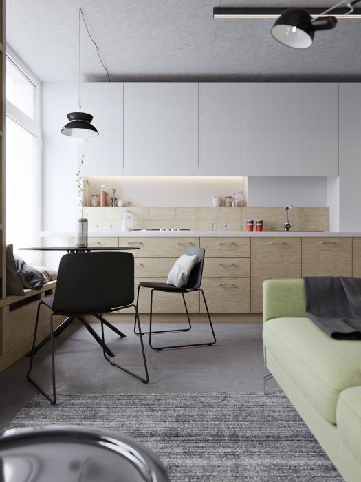 Чтобы кухня визуально была просторнее желательно использовать светлые оттенки в интерьере.