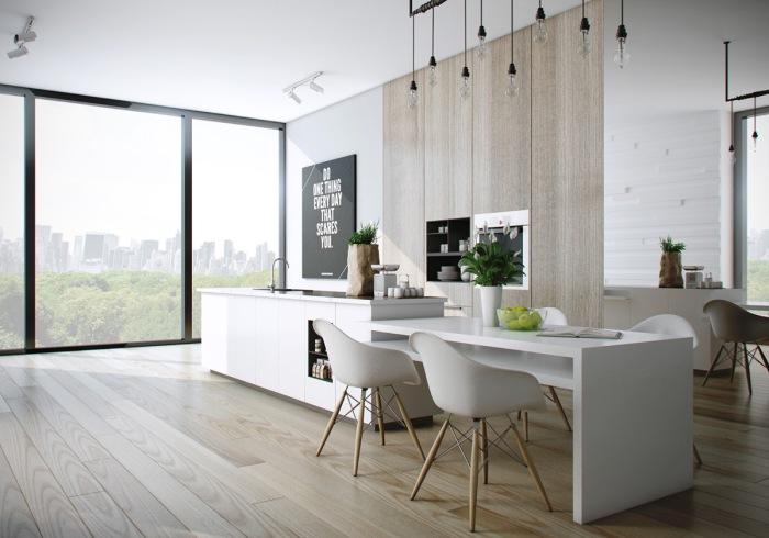Белый стол в интерьере кухни – наиболее универсальное и практичное решение.