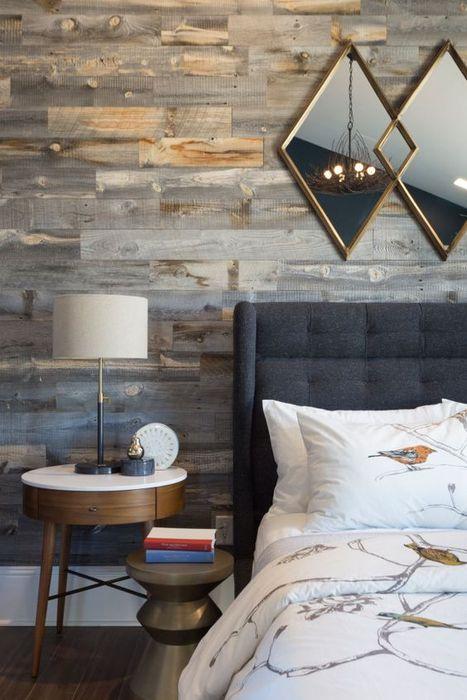 Экологически чистый вид отделки стен в современном интерьере спальной комнате.