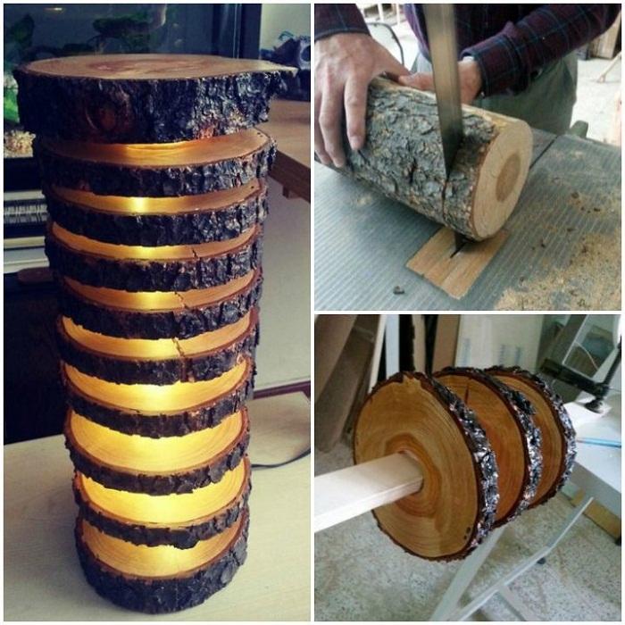 Сруб дерева может послужить отличной основой для современного светильника.