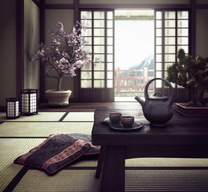 Комната в японском стиле, которая может стать отличным местом для уединения и медитации.