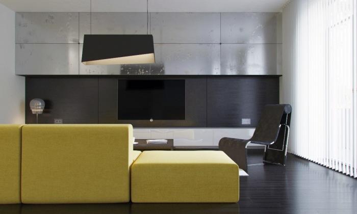 Интерьер гостиной комнаты в стиле минимализм с контрастными жёлтыми элементами воплощает в себе простоту и изысканность, демонстрируя гостям изысканный вкус хозяев.
