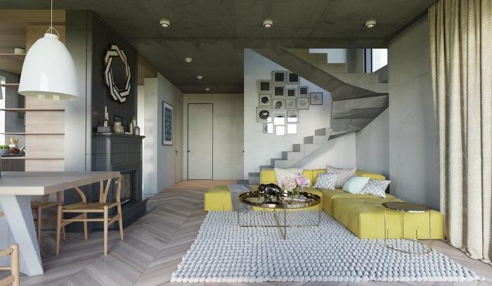 Интерьер, в котором сбалансированные элементы интерьера позволяют бесконечно экспериментировать с цветом.