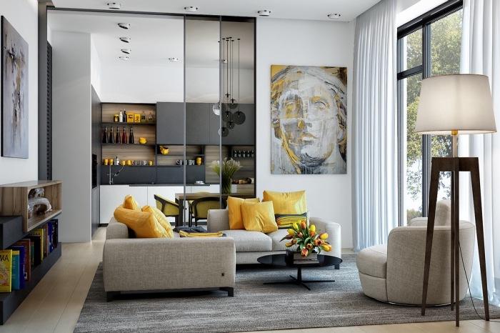 Яркие жёлтые элементы в современном интерьере способны оживить любое помещение.
