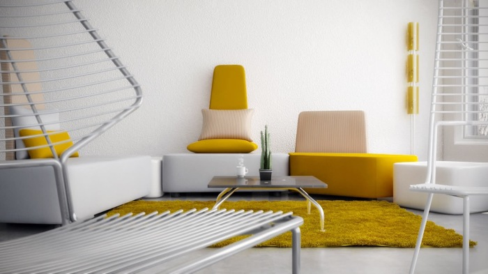 Солнечный цвет великолепно смотрится в светлом интерьере гостиной комнаты.