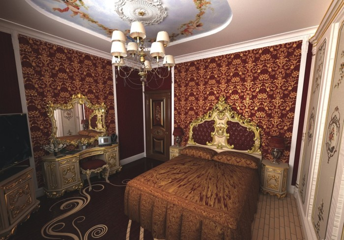 Роскошная классика с позолоченными элементами в интерьер спальной комнаты.