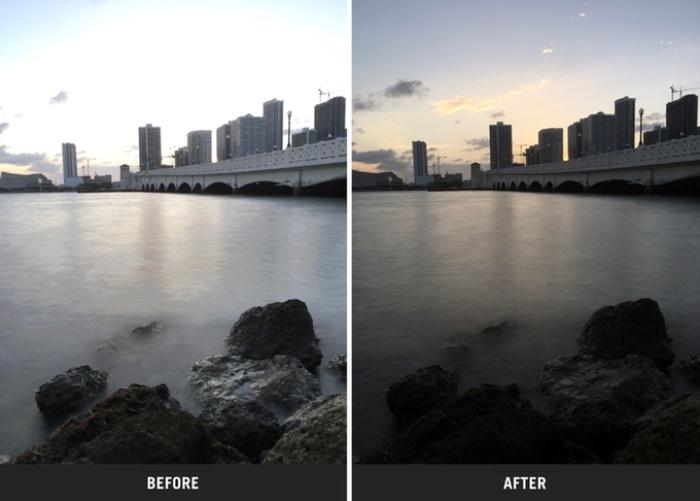 Работа до и после использования фильтра. Фото: kickstarter.com.
