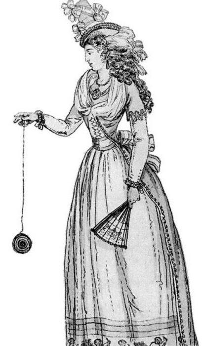 Иллюстрация 1791 года, на которой изображена женщина, играющая  с «английским Бандалором» (йо-йо).