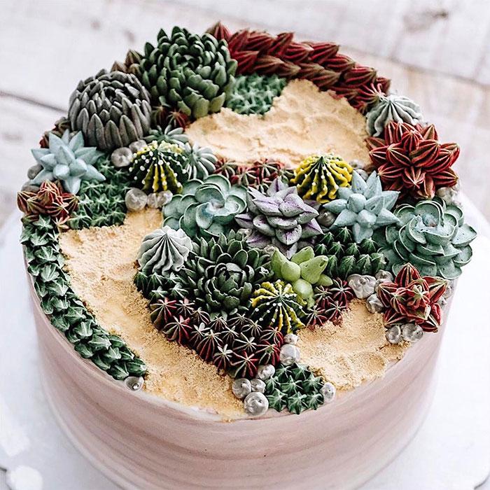 Эти торты можно перепутать с композициями из живых суккулентов.