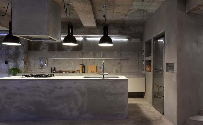 Брутальная бетонная кухня.