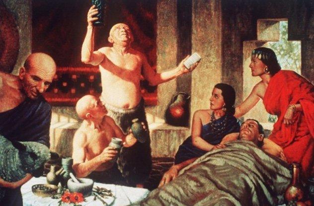 Древний врач у постели больного.