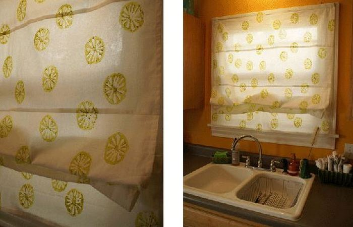 Старые шторы, преобразованные с помощью картофеля.