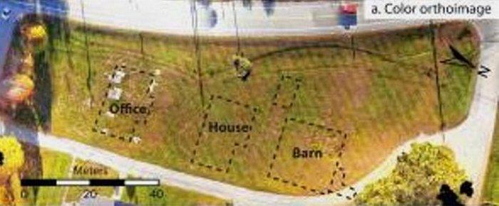 Составленные с помощью дрона карты поселения шейкеров (цвет).