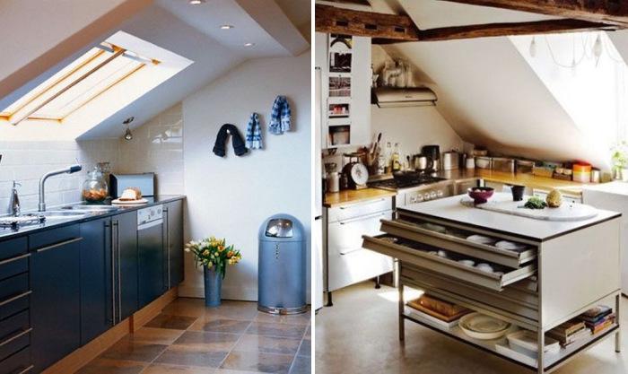 Идеи по обустройству кухни на чердаке.