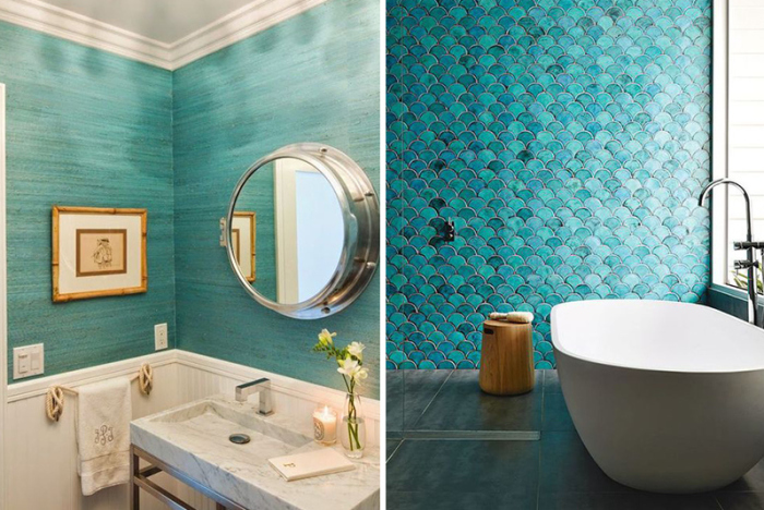 25 стильных идей, как оформить ванную комнату в бирюзовом цвете.