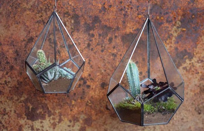 Креативный горшок «Цинково-стеклянный домик».