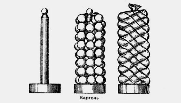 Пушечный залп: снаряд «картечь».