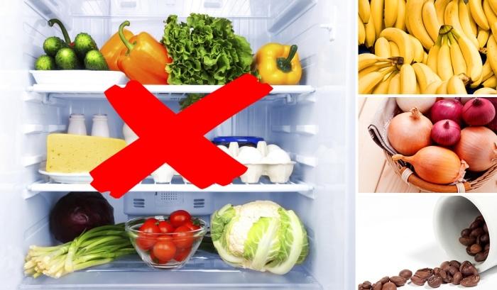 Продукты, которые не следует хранить в холодильнике.