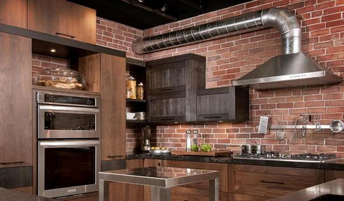 Индустриальная кухня в стиле лофт.