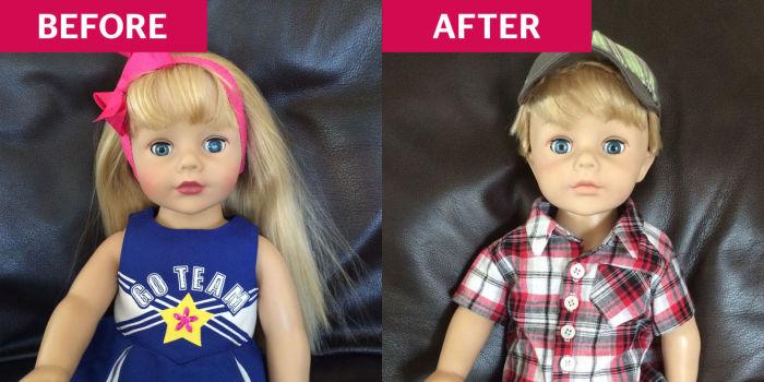 Мамы сами переделывали кукол девочек в мальчиков.