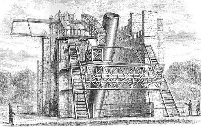 Обсерватория лорда Росса в замке Бирр (Ирландия). Здесь находился его 72-дюймовый (183-сантиметровый) телескоп под названием «Левиафан». Гравюра на медной пластине 1860 года.