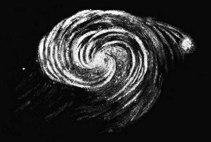 Зарисовка галактики Водоворот 3-им графом Росс в 1845 году, которая была сделана на основе наблюдений с использованием Левиафана.