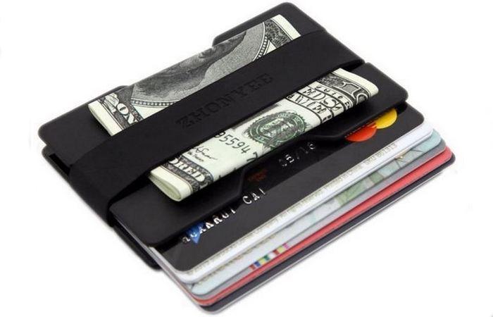 Алюминиевый тонкий кошелек с блокировкой RFID и зажимом для денег.