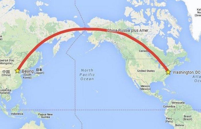 Железная дорога Китай-Россия-Канада-Америка.