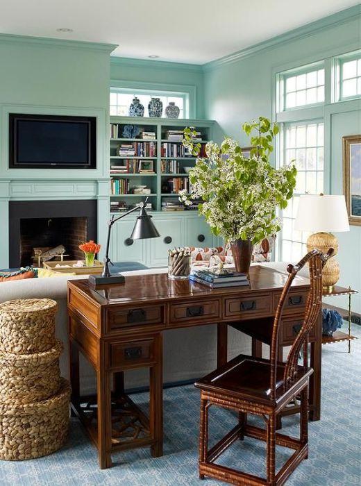 Деревенский стиль для самого современного домашнего офиса.