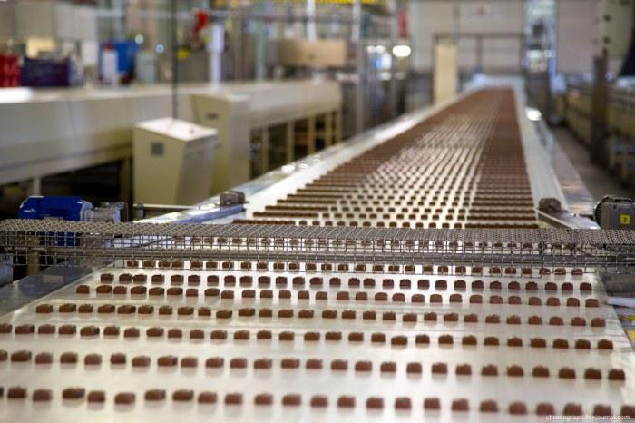 Производство шоколадных батончиков.