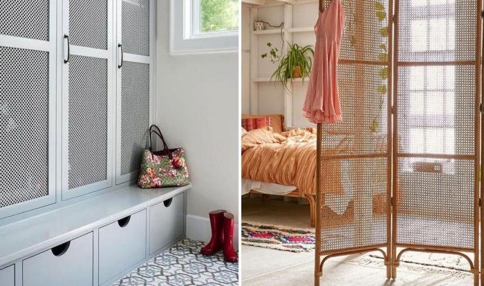 Стильные примеры использования деревянных решёток в интерьер квартиры.