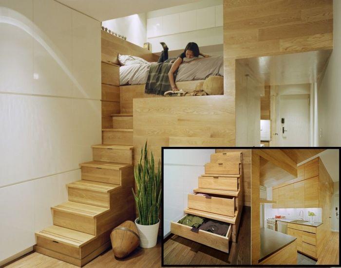 Лестничная конструкция позволит создать второй уровень.