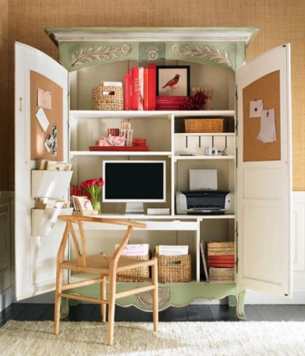 Компактный домашний офис скрытое рабочее место в шкафу.